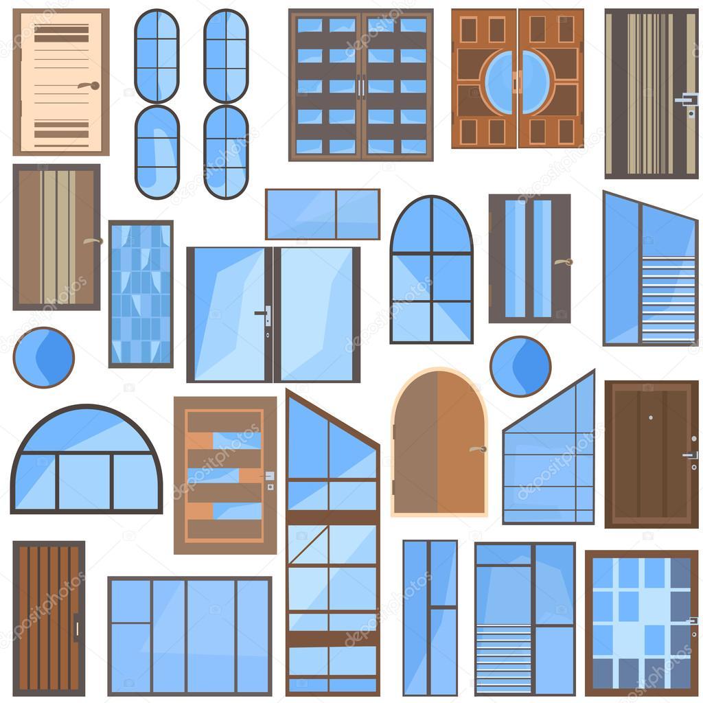 격리 된 문, 창문, 유리를 설정 — 스톡 벡터
