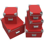Boxes with chrome handles. 3D graphic — Stock Photo