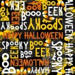 Happy halloween white black yellow orange letters and sweets autumn holiday colorful seamless pattern on dark background — Stock Vector #51889797