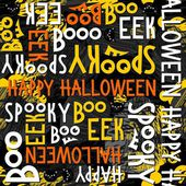 Happy halloween white black yellow orange letters and black cats autumn holiday colorful seamless pattern on dark background — Stockvektor