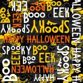 Happy halloween white black yellow orange letters and black cats autumn holiday colorful seamless pattern on dark background — ストックベクタ