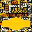 Happy halloween white black yellow orange letters and sweets autumn holiday colorful seamless pattern on dark background with blank yellow retro frame on orange ribbon seasonal card invitation — Stock Vector #51890291