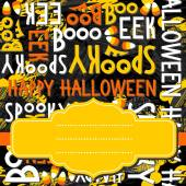 Happy halloween white black yellow orange letters and sweets autumn holiday colorful seamless pattern on dark background with blank yellow retro frame on orange ribbon seasonal card invitation — ストックベクタ