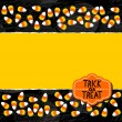 Halloween candy white yellow orange sweets double horizontal border autumn holiday colorful pattern on dark background torn card with blank place for your text and retro shaped Halloween badge — Stock Vector #51953037