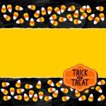 Halloween godis vit gul orange godis dubbel vågräta kantlinjen höstlov färgglada mönster på mörk bakgrund sönderrivet kort med tomt rum för din text och retro formade halloween badge — Stockvektor  #51953037