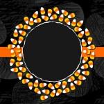 Halloween godis vit gul orange godis dekorativa krans höstlov färgglada illustration på mörk bakgrund kort central med tomt rum för din text på orange band — Stockvektor  #51956055