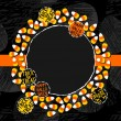 Halloween candy white yellow orange sweets decorative wreath with halloween badges autumn holiday colorful illustration on dark card centerpiece with blank place for your text on orange ribbon — Stock Vector #51957437