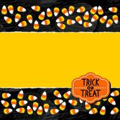 Halloween candy white yellow orange sweets double horizontal border autumn holiday colorful pattern on dark background  torn card with blank place for your text and retro shaped Halloween badge — Stock Vector