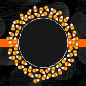 Halloween candy white yellow orange sweets decorative wreath autumn holiday colorful illustration on dark background card centerpiece with blank place for your text on orange ribbon — Stockvektor