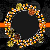 Halloween candy white yellow orange sweets decorative wreath with halloween badges autumn holiday colorful illustration on dark card centerpiece with blank place for your text on orange ribbon — Vector de stock