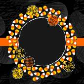 Halloween candy white yellow orange sweets decorative wreath with halloween badges autumn holiday colorful illustration on dark card centerpiece with blank place for your text on orange ribbon — ストックベクタ