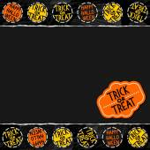 Happy halloween trick or treat white black yellow orange round badges autumn holiday seamless pattern on dark background on horizontal torn paper seasonal horizontal seamless border with retro sticker — Stock Vector