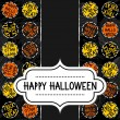 Happy halloween trick or treat white black yellow orange round badges autumn holiday seamless pattern on dark background with retro frame with wishes on vertical torn paper seasonal card invitation — Stock Vector #52133325
