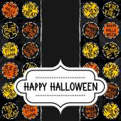Happy halloween trick or treat white black yellow orange round badges autumn holiday seamless pattern on dark background with retro frame with wishes on vertical torn paper seasonal card invitation — Stock Vector