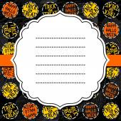 Happy halloween trick or treat white black yellow orange round badges autumn holiday colorful seamless pattern on dark background with blank white retro frame on orange ribbon seasonal card invitation — Vettoriale Stock