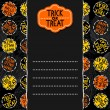 Happy halloween trick or treat white black yellow orange round badges autumn holiday seamless pattern on dark background on horizontal torn paper seasonal horizontal card with retro sticker — Stock Vector #52258825