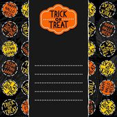 Happy halloween trick or treat white black yellow orange round badges autumn holiday seamless pattern on dark background on horizontal torn paper seasonal horizontal card with retro sticker — ストックベクタ