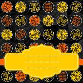 Happy halloween trick or treat white black yellow orange round badges autumn holiday seamless pattern on dark background with blank yellow retro frame on orange ribbon seasonal card invitation — Vettoriale Stock
