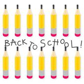 Back to school yellow pencils in rows seamless pattern with isolated elements on white background — Stock Vector