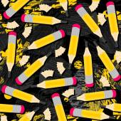 Yellow pencils and wooden shavings mess seamless pattern with isolated elements on dark messy background — Stockvector
