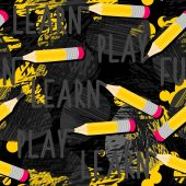 Yellow pencils learn play fun messy seamless pattern with isolated elements on dark background — Stock Vector