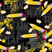 Yellow pencils learn play fun messy seamless pattern with isolated elements on dark background — Vetorial Stock