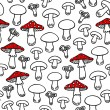 Different mushroom types monochrome seamless pattern with red elements on white background — Stock Vector #52747757