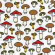 Different mushroom types colorful seamless pattern on white background — Stock Vector #52749055