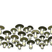 Zielony szary jadalne grzyby jesienne sezonowe bezszwowe Krawędź pozioma na białym tle — Wektor stockowy