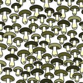 Green gray edible mushrooms autumn seasonal seamless pattern on white background — Wektor stockowy