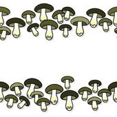Green gray edible mushrooms autumn seasonal seamless double horizontal border on white background — Wektor stockowy