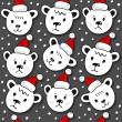 Polar bears in Santa Claus hats Christmas winter holidays seamless pattern on dark background — Stock Vector #55034803