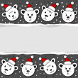 Polar bears in Santa Claus hats Christmas winter holidays horizontal card with torn paper on dark background — Stock Vector #55034855