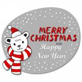 Polar bear in Santa Claus hat and colorful scarf winter holidays card on white background with Christmas wishes in English — Stock Vector