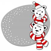 Two polar bears in Santa Claus hats and colorful scarfs winter holidays card on white background — Stock Vector