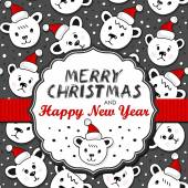 Polar bears in Santa Claus hats Christmas winter holidays card with vintage frame and ribbon and Christmas wishes in English on dark background — Vettoriale Stock