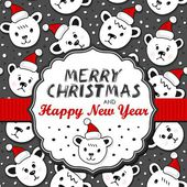 Polar bears in Santa Claus hats Christmas winter holidays card with vintage frame and ribbon and Christmas wishes in English on dark background — Stock Vector