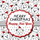 Vintage frame with Christmas wishes in English on colorful ribbon winter holiday set with polar bears in Santa Claus hats — 图库矢量图片