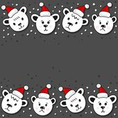 Polar bears in Santa Claus hats Christmas winter holidays seamless double horizontal border on dark background — Stock Vector