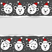 Polar bears in Santa Claus hats Christmas winter holidays horizontal card with torn paper on dark background — Stock Vector