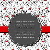 Polar bears in Santa Claus hats Christmas winter holidays seamless pattern on white background with retro frame and ribbon greeting card — Stock Vector