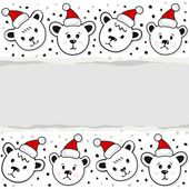 Polar bears in Santa Claus hats Christmas winter holidays horizontal card with torn paper on white background — Stock Vector