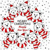 Polar bears wreath in Santa Claus hats and colorful scarfs winter holidays card with Christmas and New Year greetings on white background — 图库矢量图片