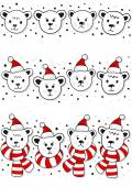 Polar bears faces, in Santa Claus hats and in hats and scarfs Christmas winter holidays seamless horizontal border set isolated on white background — Stock Vector