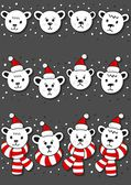 Polar bears faces, in Santa Claus hats and in hats and scarfs Christmas winter holidays seamless horizontal border set isolated on dark background — Stock Vector