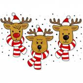 Reindeers faces in Santa Claus hats and scarfs Christmas winter holidays seamless horizontal border isolated on white background — Stock Vector