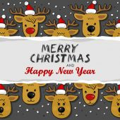 Reindeers in Santa Claus hats Christmas winter holidays horizontal card with torn paper and Christmas wishes in English on dark background — Stock Vector