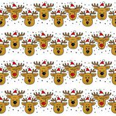 Reindeers in Santa Claus hats in regular horizontal rows Christmas winter holidays seamless pattern on white background — 图库矢量图片