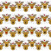 Reindeers in Santa Claus hats in regular horizontal rows Christmas winter holidays seamless pattern on white background — Stock Vector