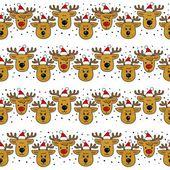 Reindeers in Santa Claus hats in regular horizontal rows Christmas winter holidays seamless pattern on white background — Cтоковый вектор